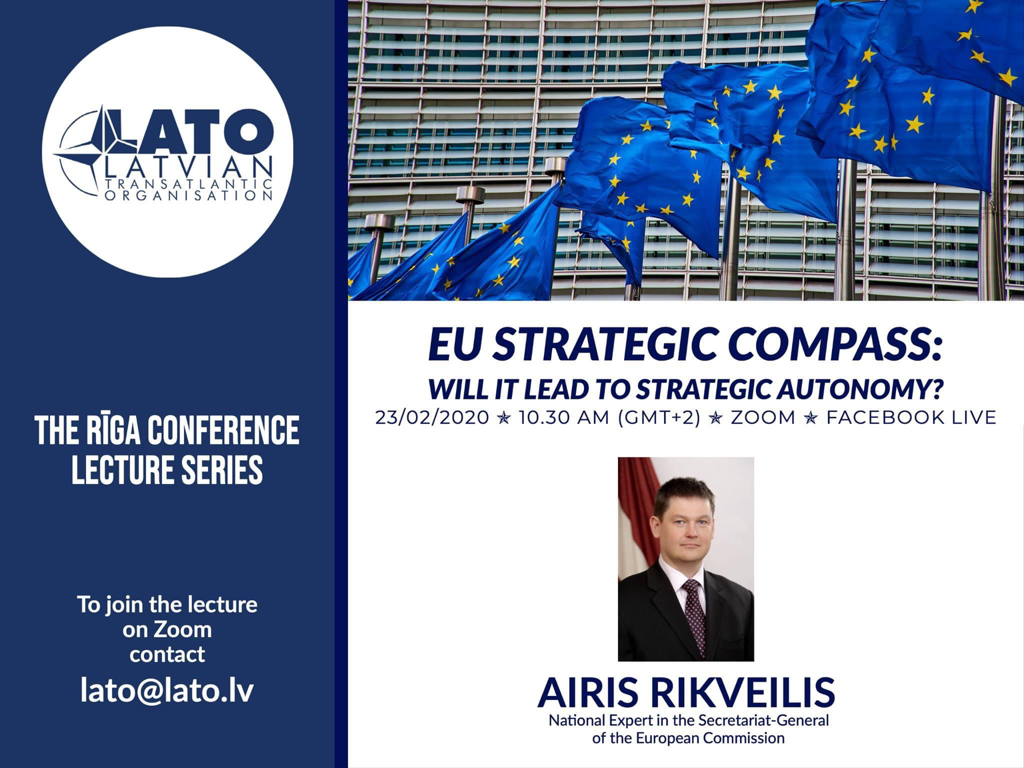 """Pievienojies lekcijai """"ES stratēģiskais kompass: vai tas nodrošinās stratēģisko autonomiju?"""" 23. februārī!"""